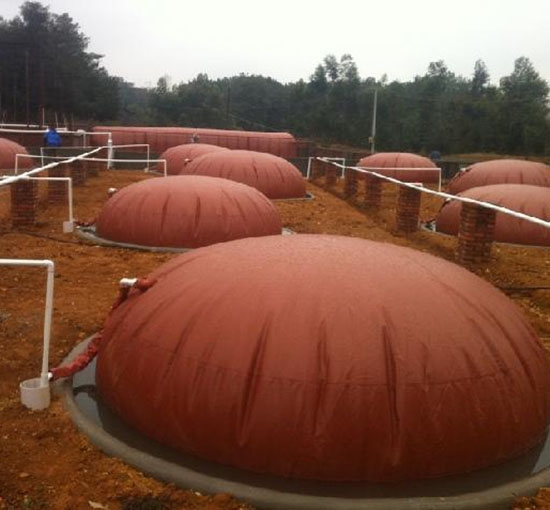 养猪场红泥沼气池
